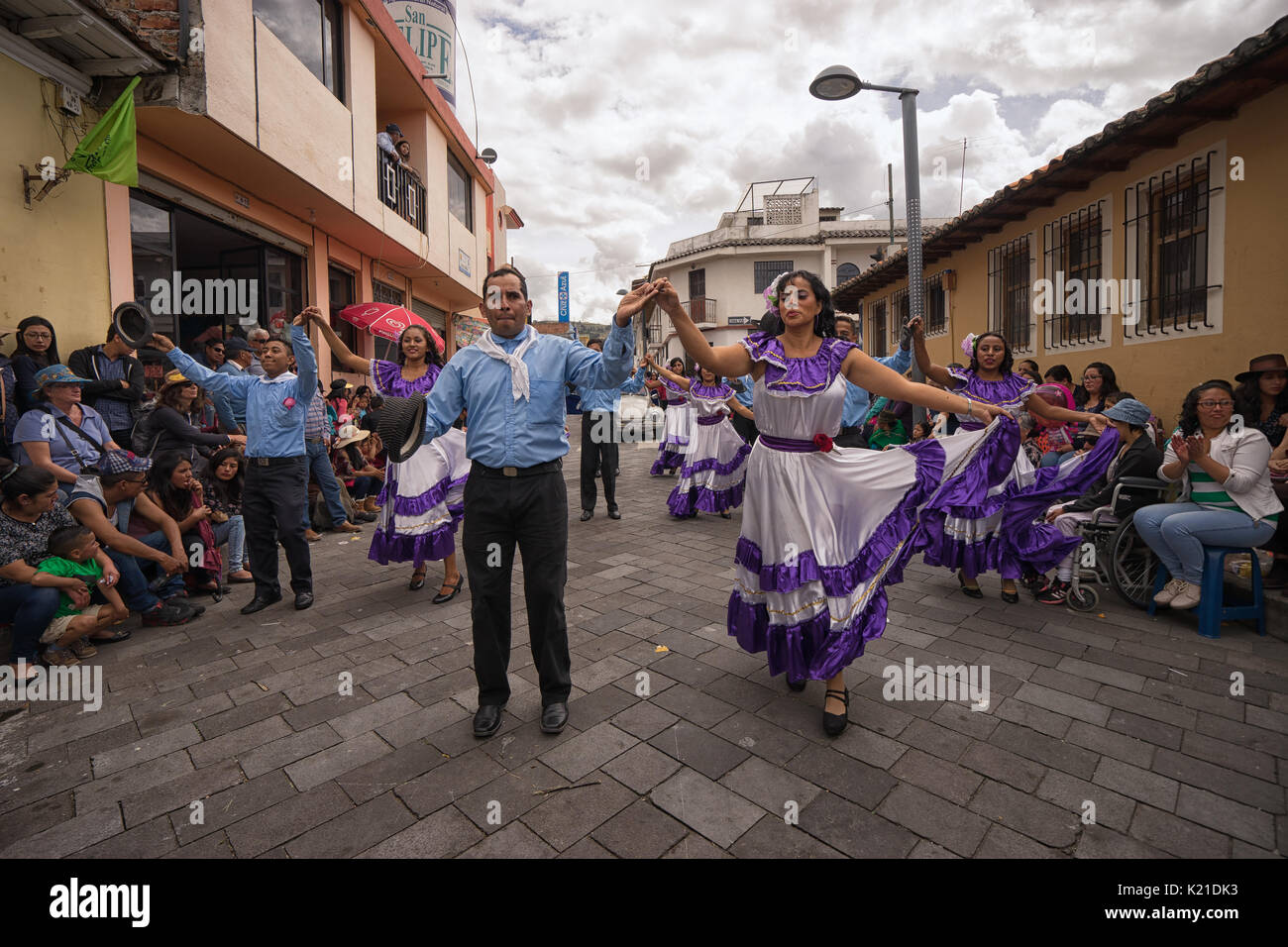 June 17, 2017 Pujili, Ecuador: street dancers performing in traditional clothing during Corpus Christi - Stock Image
