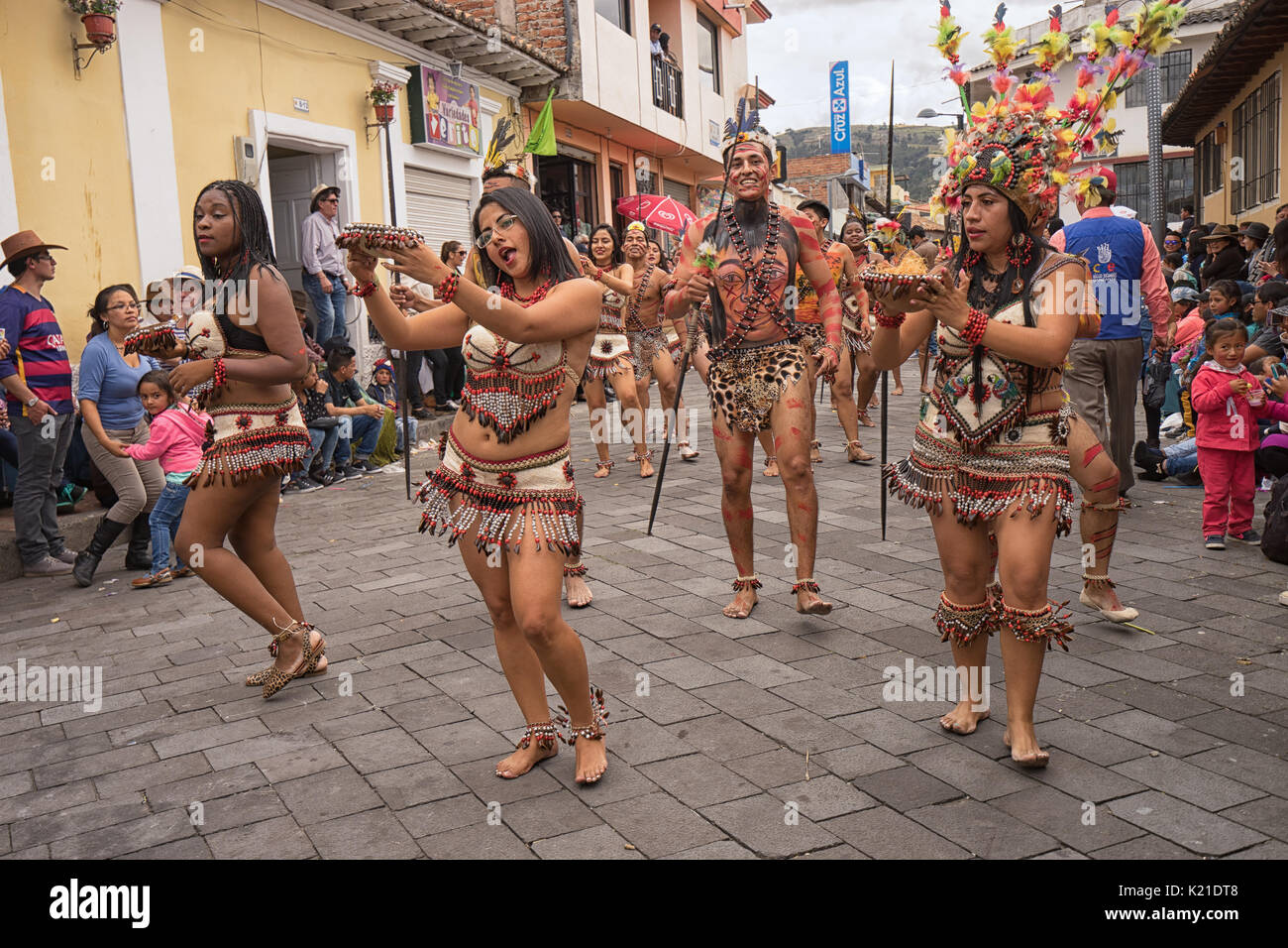 June 17, 2017 Pujili, Ecuador: indigenous dancers from the Amazonas area performing at the Corpus Christi festival Stock Photo