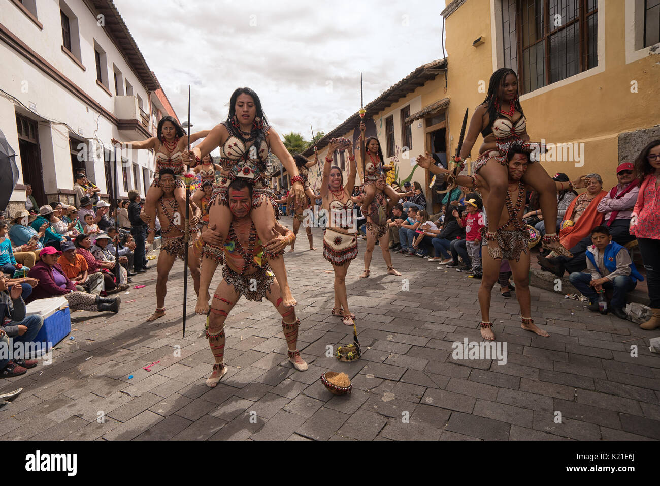 June 17, 2017 Pujili, Ecuador: indigenous dancers from the Amazonas area performing at the Corpus Christi festival - Stock Image