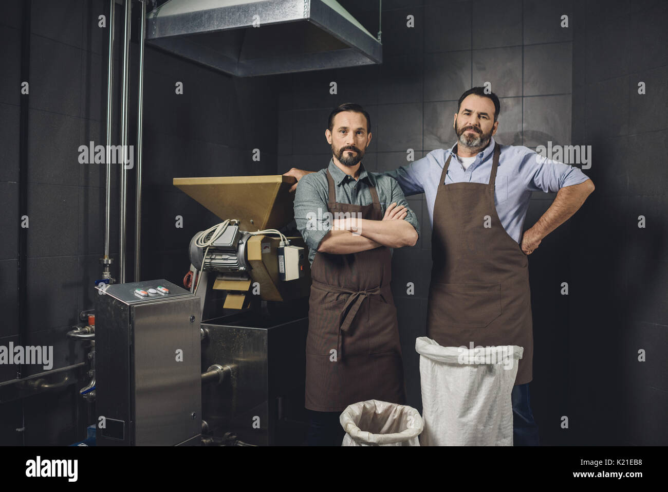 Male workers in aprons standing near equipment and looking at camera at brewery - Stock Image