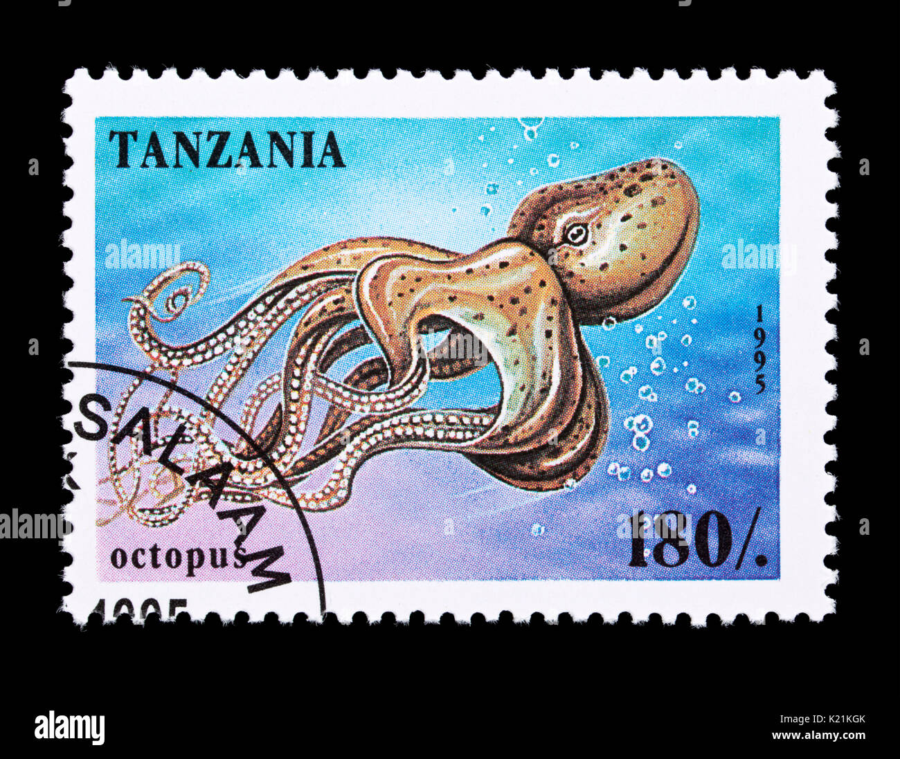 Postage Stamp From Tanzania Depicting An Octopus