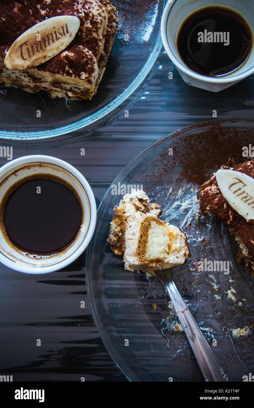Tiramisu and coffee  for two - Stock Image