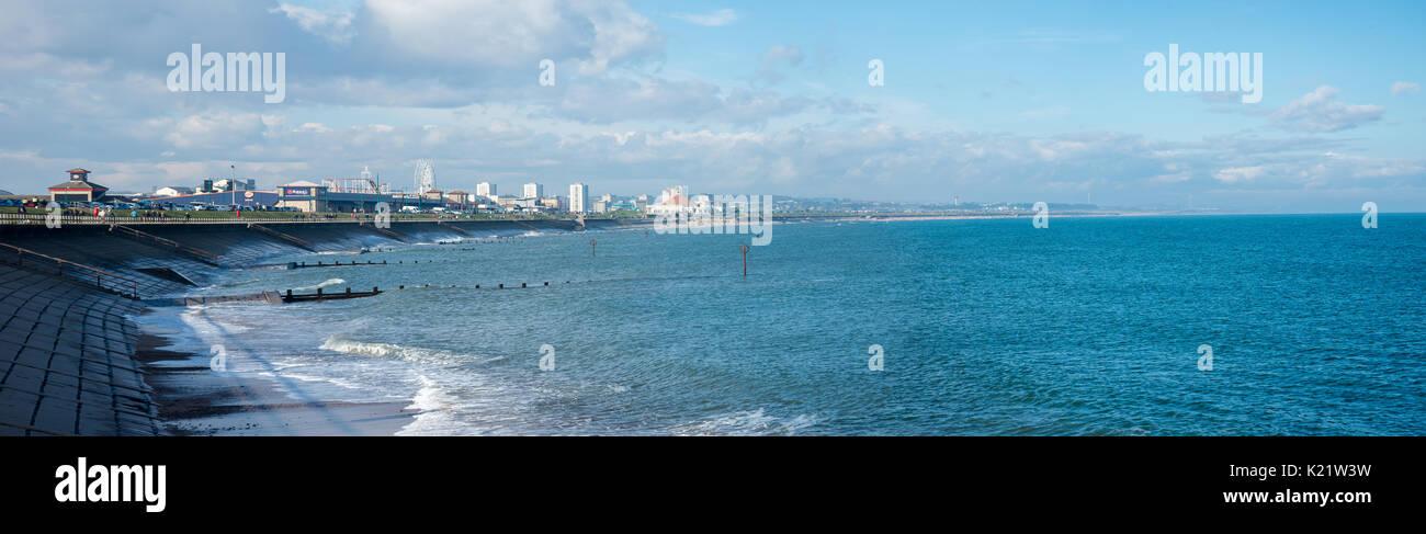 A panoramic view of Aberdeen Beach and John Codona's leisure center, Scotland - Stock Image