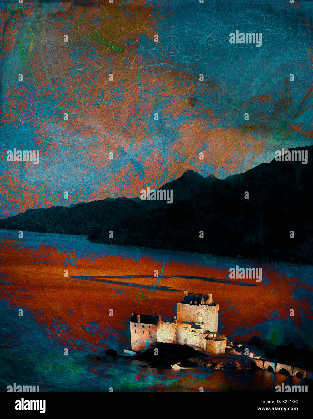 DIGITAL ART: Eilean Donan Castle at Dornie, Scottish Highlands - Stock Image