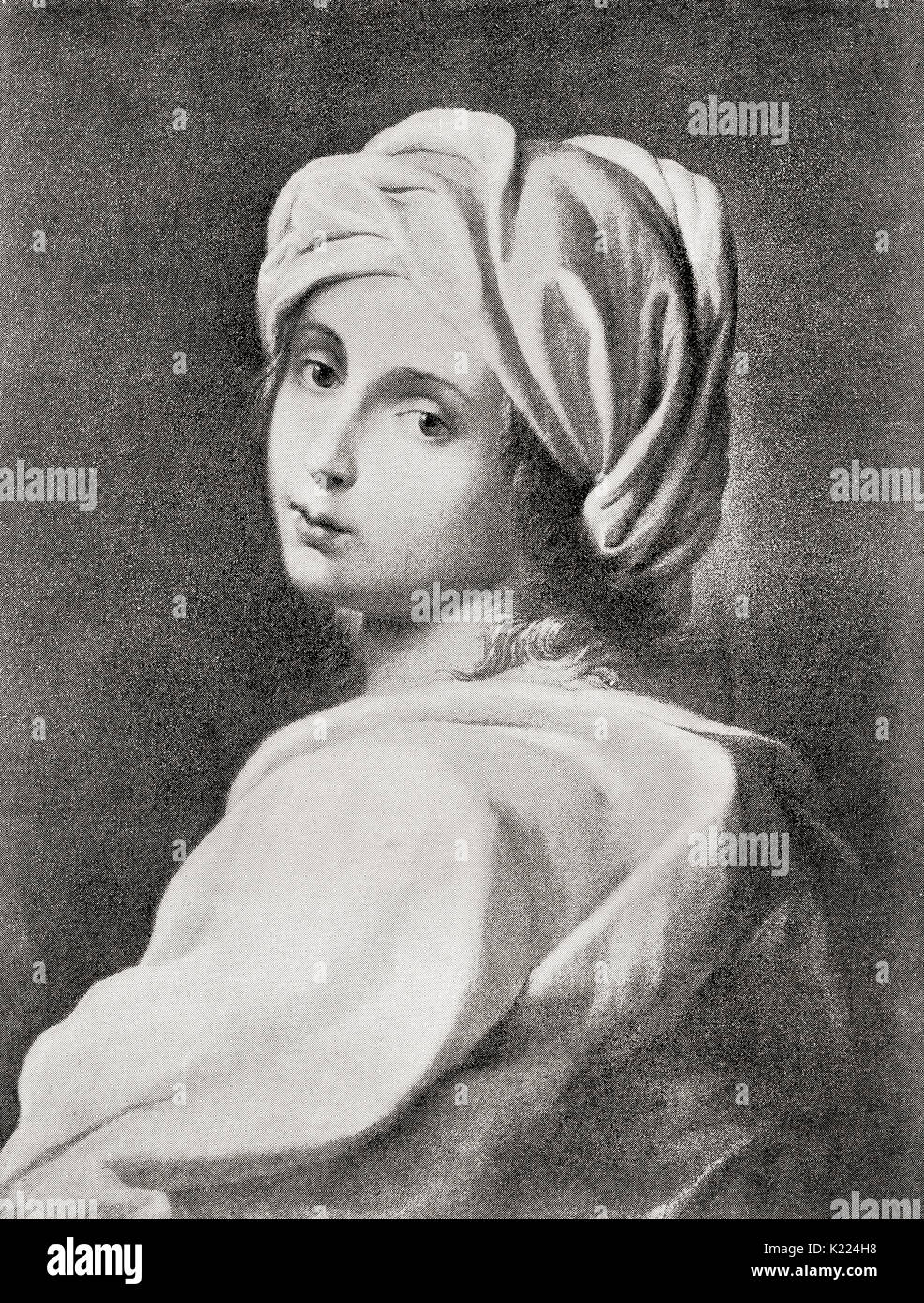 Beatrice Cenci, 1577 –  1599.  Young Roman noblewoman who murdered her father, Count Francesco Cenci. She was condemned and beheaded for the crime in 1599.  From International Library of Famous Literature, published c.1900 - Stock Image