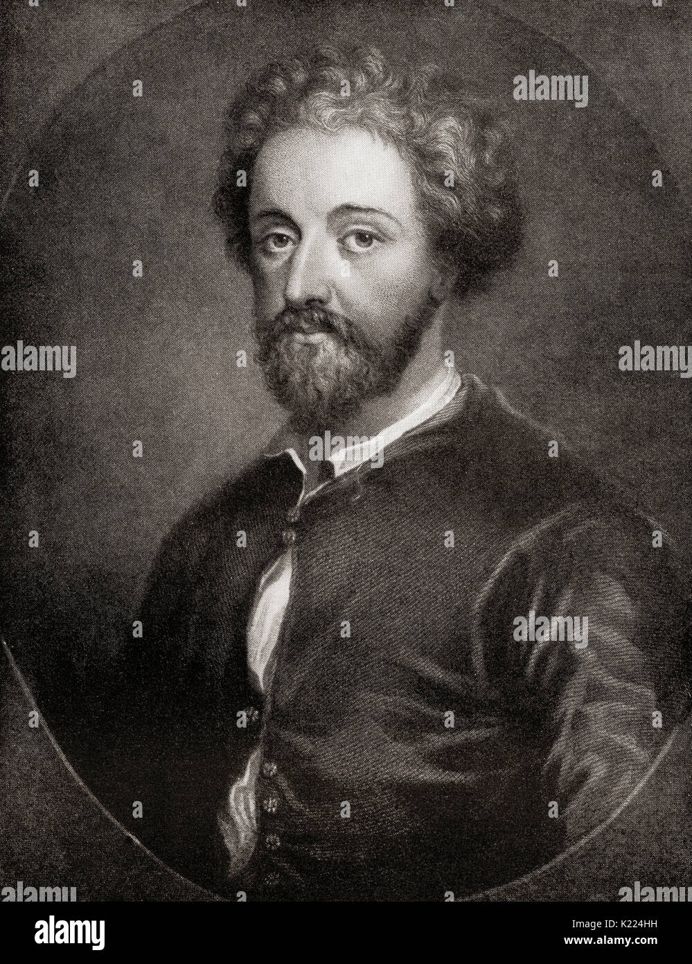 John Fletcher, 1579–1625. Jacobean playwright.  From International Library of Famous Literature, published c.1900 Stock Photo