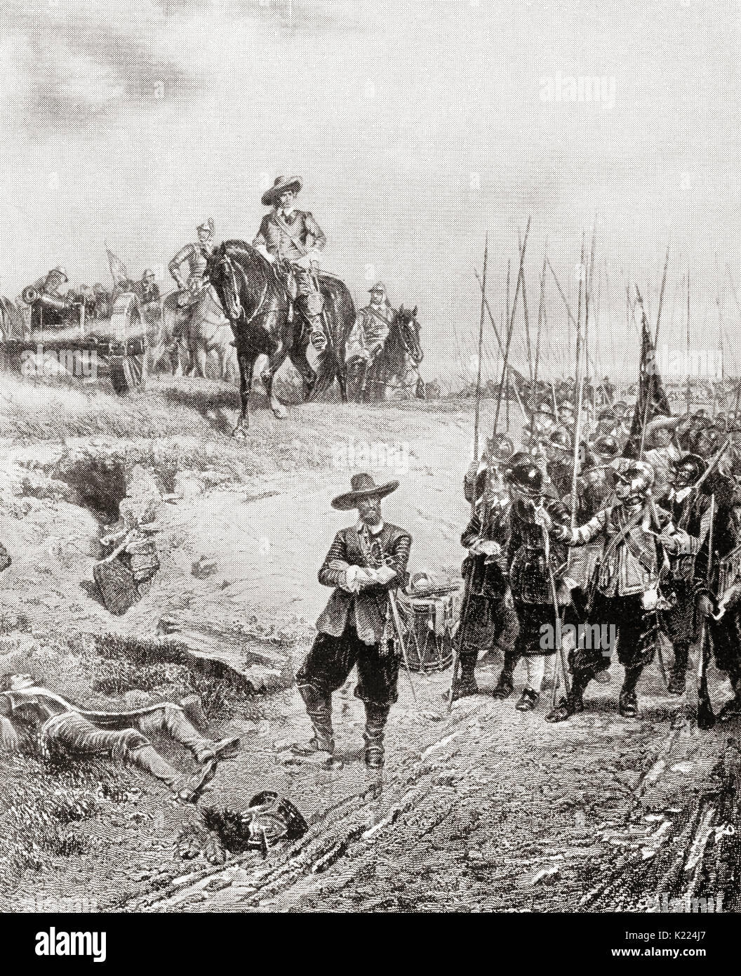Oliver Cromwell at The Battle of Marston Moor, 2 July 1644, during the First English Civil War.  Oliver Cromwell, 1599 – 1658. English military and political leader and later Lord Protector of the Commonwealth of England, Scotland, and Ireland.  From International Library of Famous Literature, published c.1900 - Stock Image