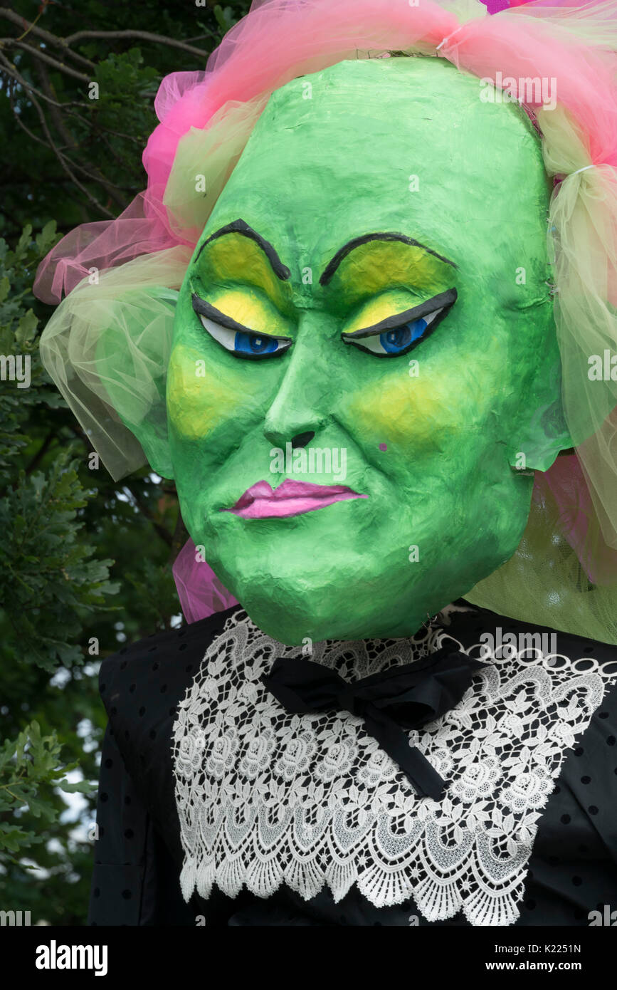 An effigy of a woman who is looking very sceptical , Fremont Solstice Parade, Seattle, Washington - Stock Image