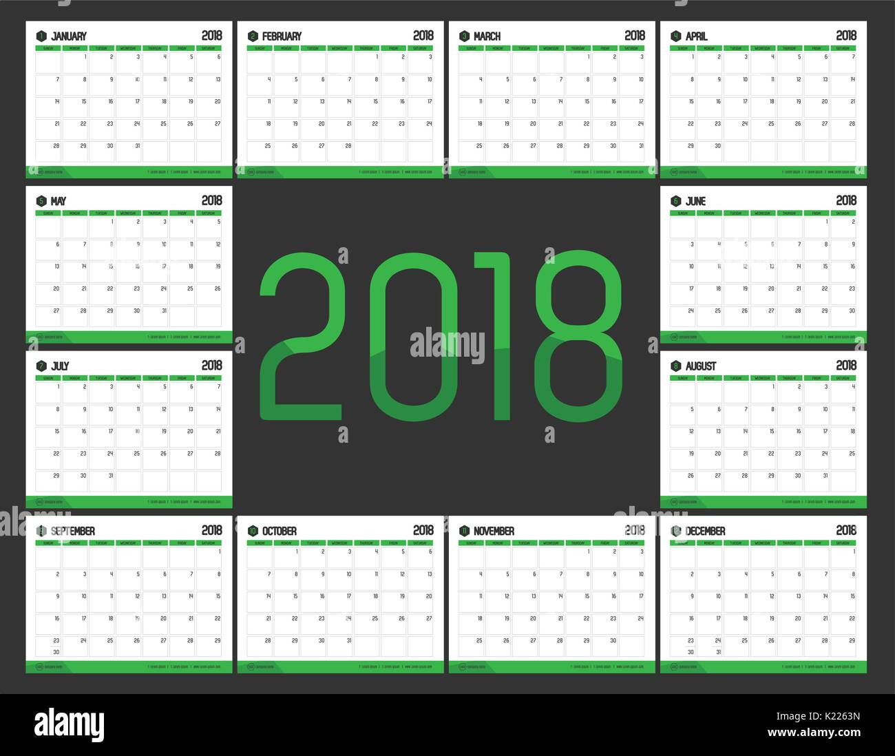 Calendar 2018 Stock Vector Images - Alamy
