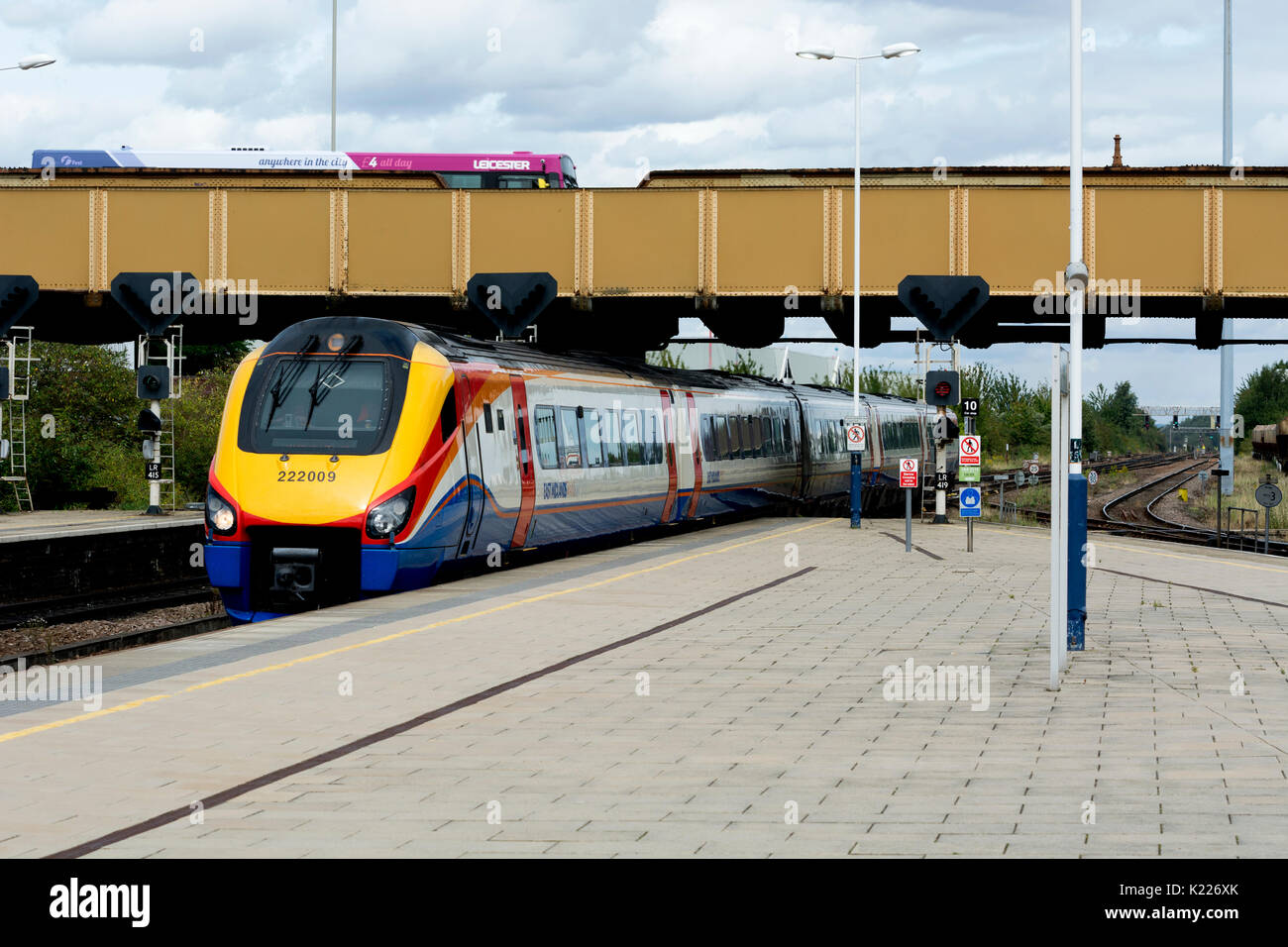 East Midlands Trains class 222 diesel arriving at Leicester station, Leicestershire, UK - Stock Image