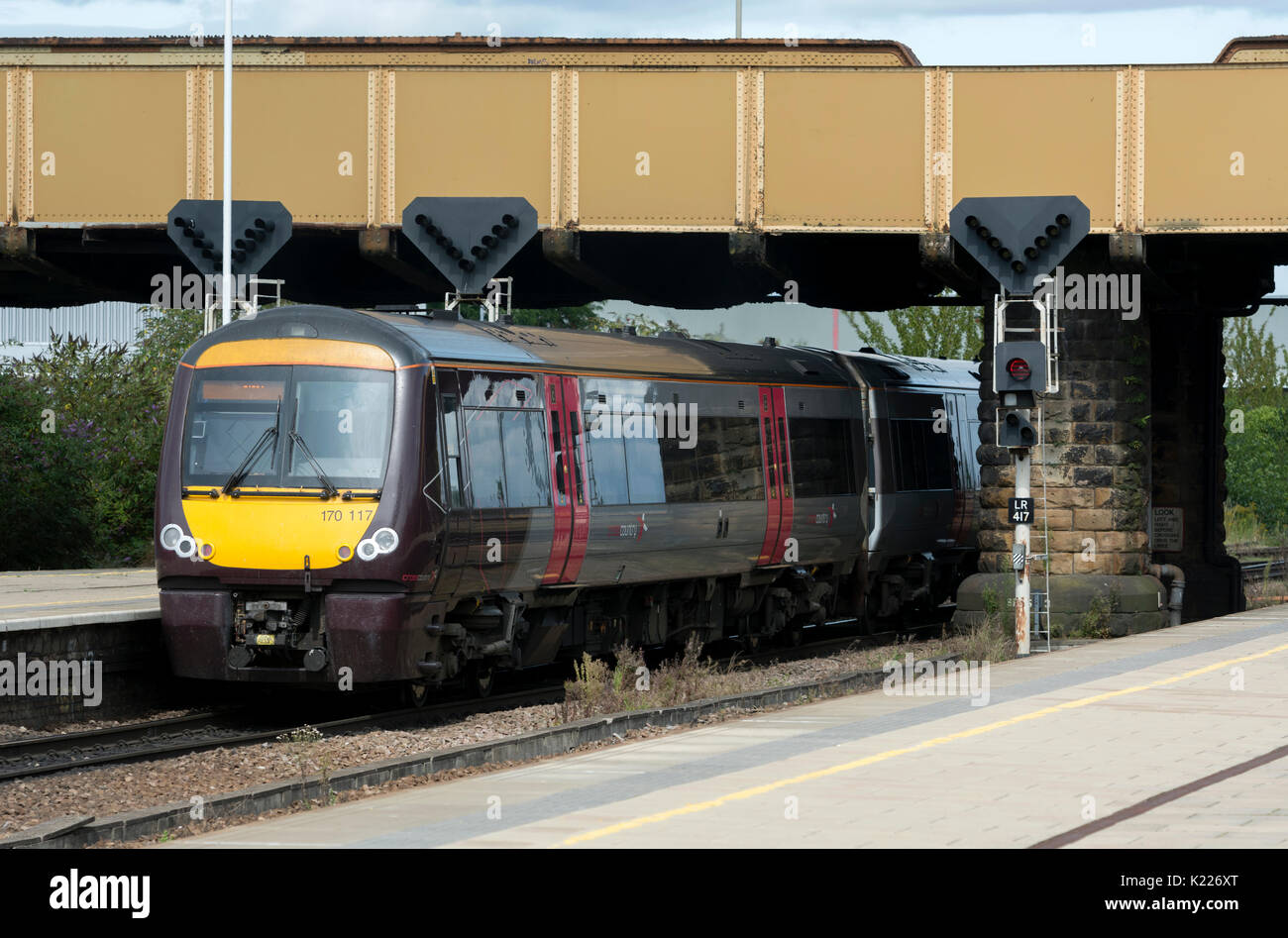 Arriva CrossCountry class 170 diesel train leaving Leicester station, Leicestershire, UK - Stock Image