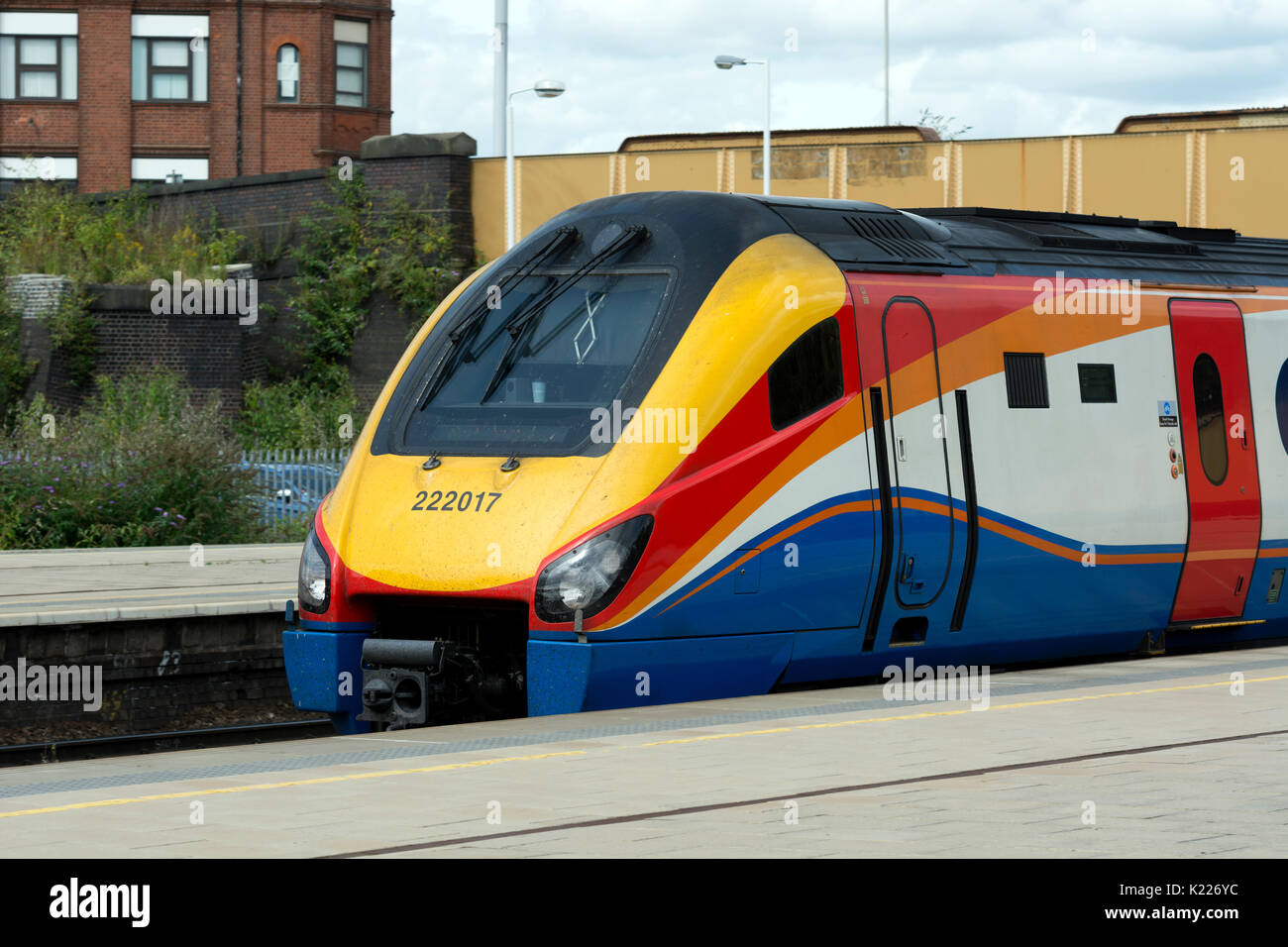 East Midlands Trains class 222 Meridian diesel at Leicester station, Leicestershire, UK - Stock Image