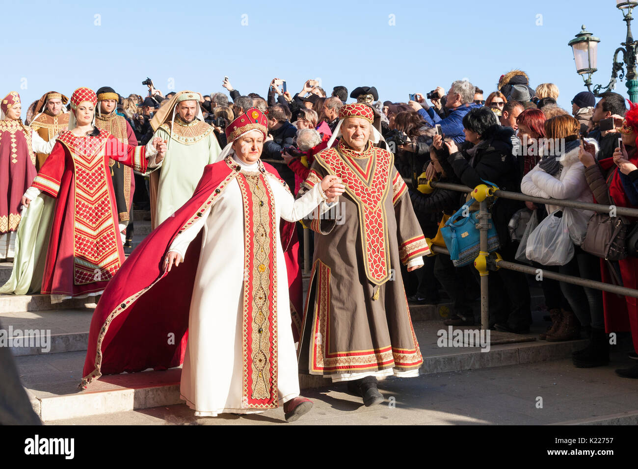 18 Feb 2017 Venice, Italy. Venetians dressed as aristocrats in the Festa della Maries prociession during Carnival - Stock Image