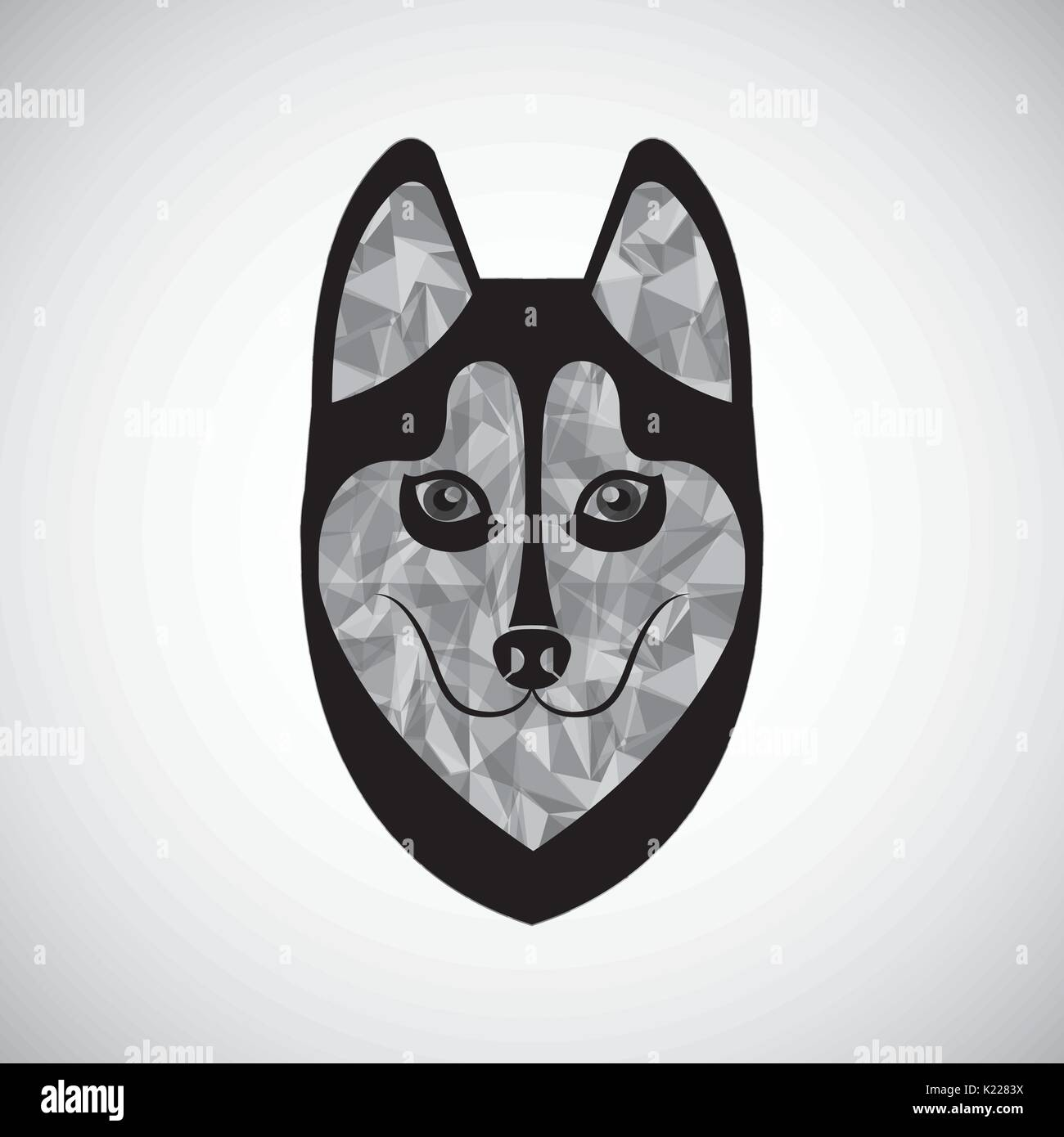 siberian wolf design  - Stock Vector