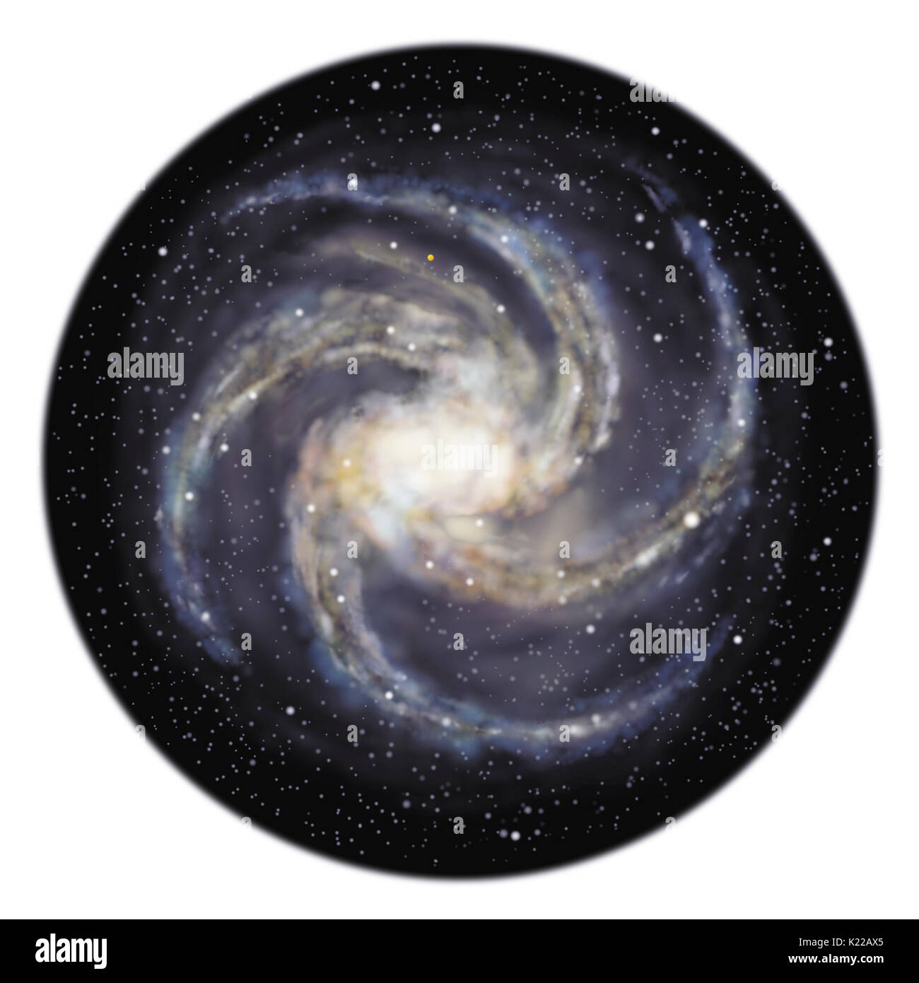 From above, the Milky Way appears as a spiral that rotates on itself around a nucleus. - Stock Image