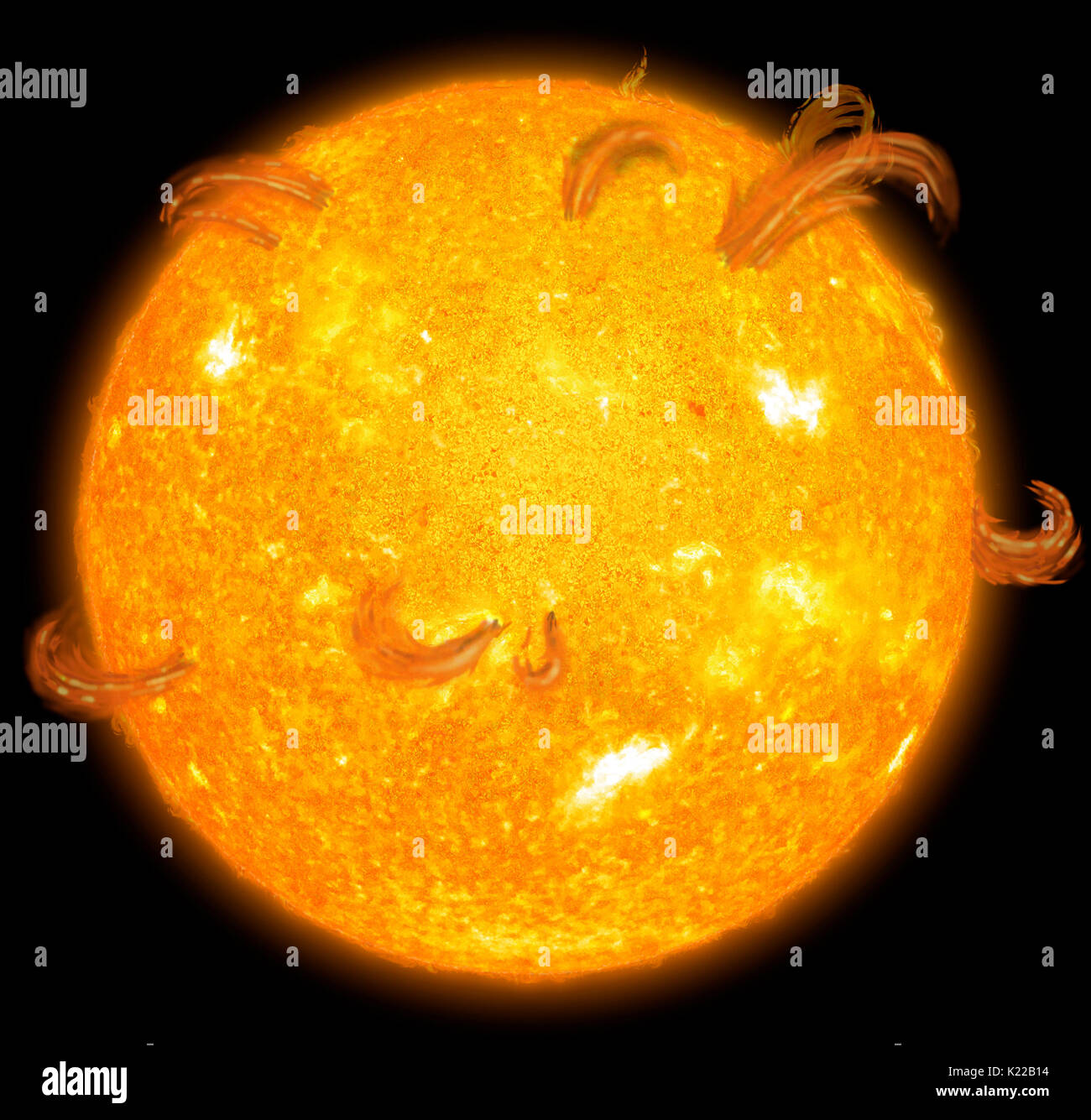 On Earth, the transmission of electricity and the signals transmitted by communications satellites are affected by phenomena known as magnetic storms, which are linked to fluctuations in the level of magnetic activity in the Sun. Every 11 years, the Sun goes through a period when sun spots and solar flares reach maximum levels before tapering off once again. - Stock Image