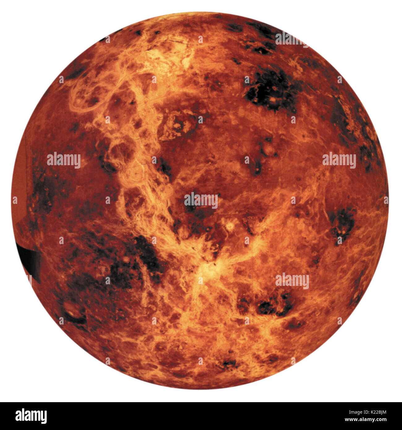 Venus has long been considered the planet with the most features in common with Earth. It is almost the same size, its orbit is about the same distance from the Sun, it has a thick atmosphere, and it has the same density and chemical composition. - Stock Image