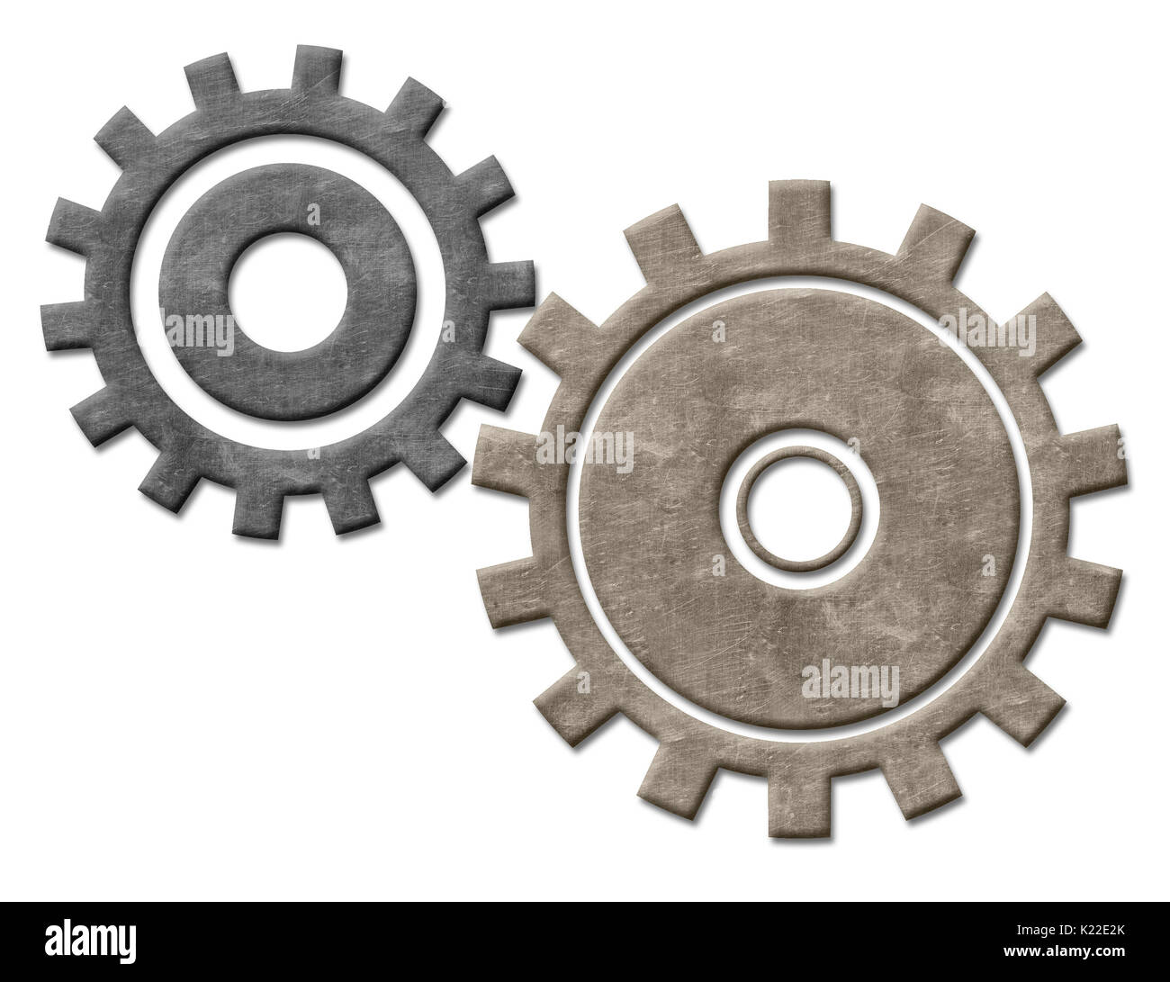 Invented more than 2,000 years ago, gears are combinations of several wheels with teeth.The teeth of one wheel fit into the teeth of another wheel. As the first wheel turns, it transfers its motion or power to the next wheel, and so on. Gears today are used in many different devices, including door handles, locks, bicycles, clocks, and watches. - Stock Image