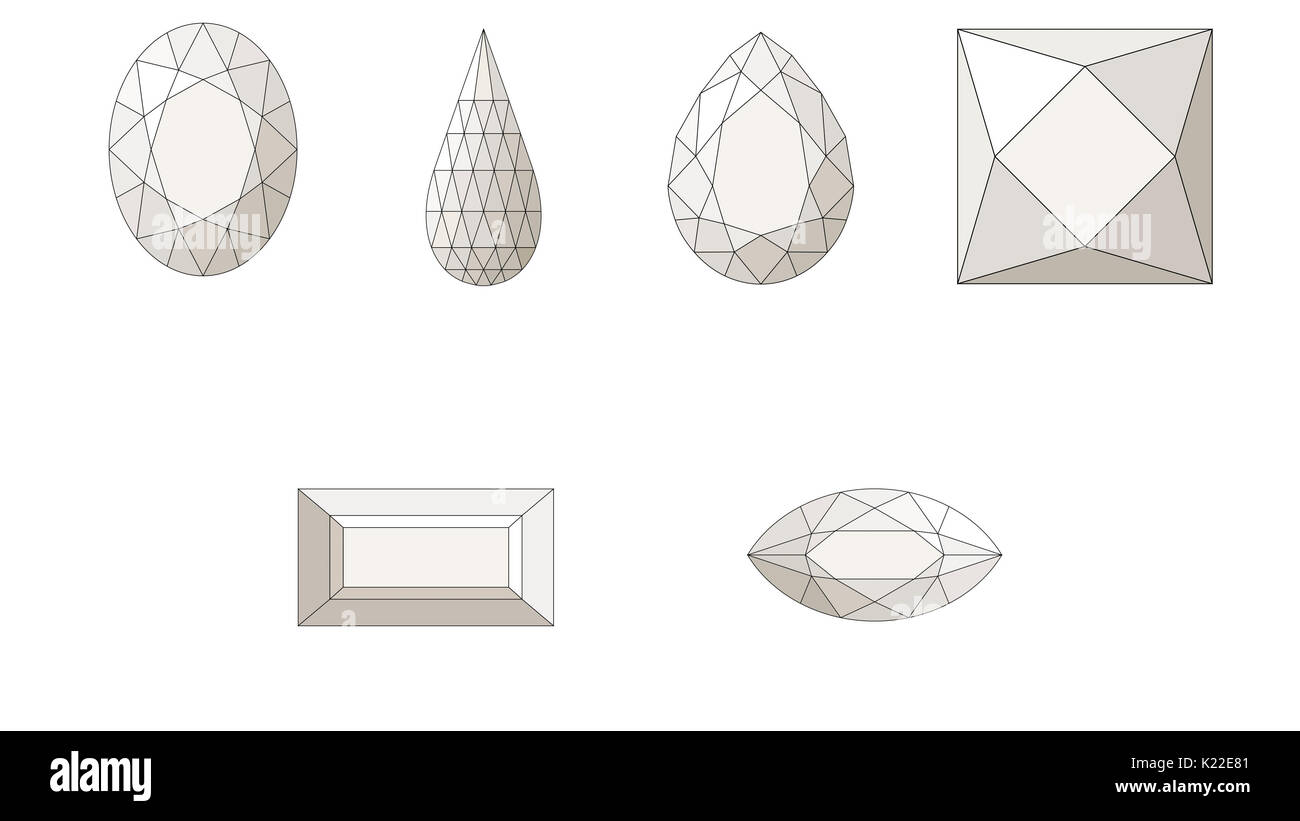 Cutting a gemstone consists of angling the facets so that the stone's brilliance is intensified - Stock Image