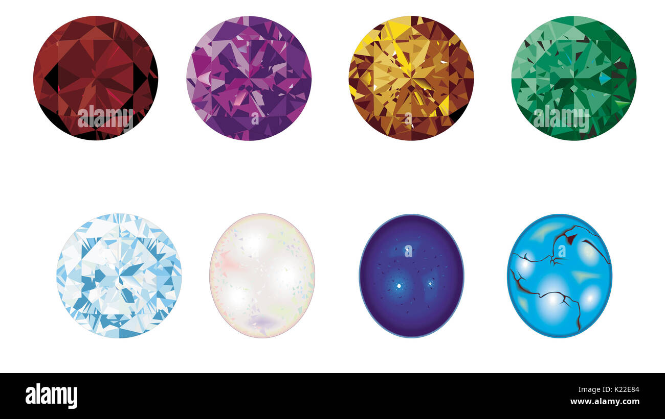 Next to precious stones, these stones are the ones whose beauty and durability make them most suitable for jewelry. - Stock Image
