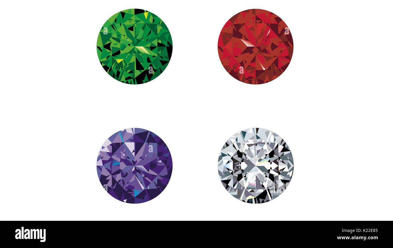 The value of these four gemstones is based on their rarity, brilliance and durability. - Stock Image
