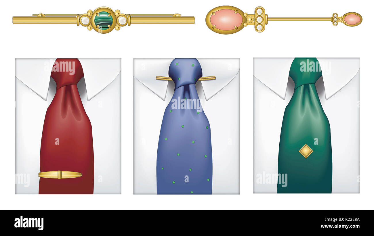 Article of jewelry used to fasten and adorn a garment. - Stock Image