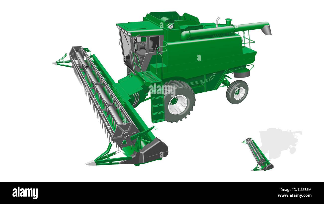 Trough usually made of sheet metal into which the cut crop is conveyed; from there it is sent through the feeding tube to the thresher. - Stock Image