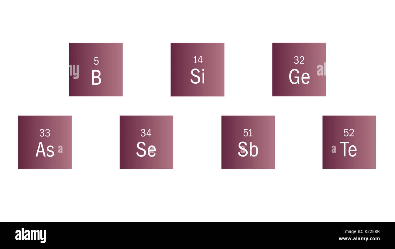 Nonmetallic elements that are lusterless and solid; they possess a certain amount of electric and thermal conductivity. - Stock Image