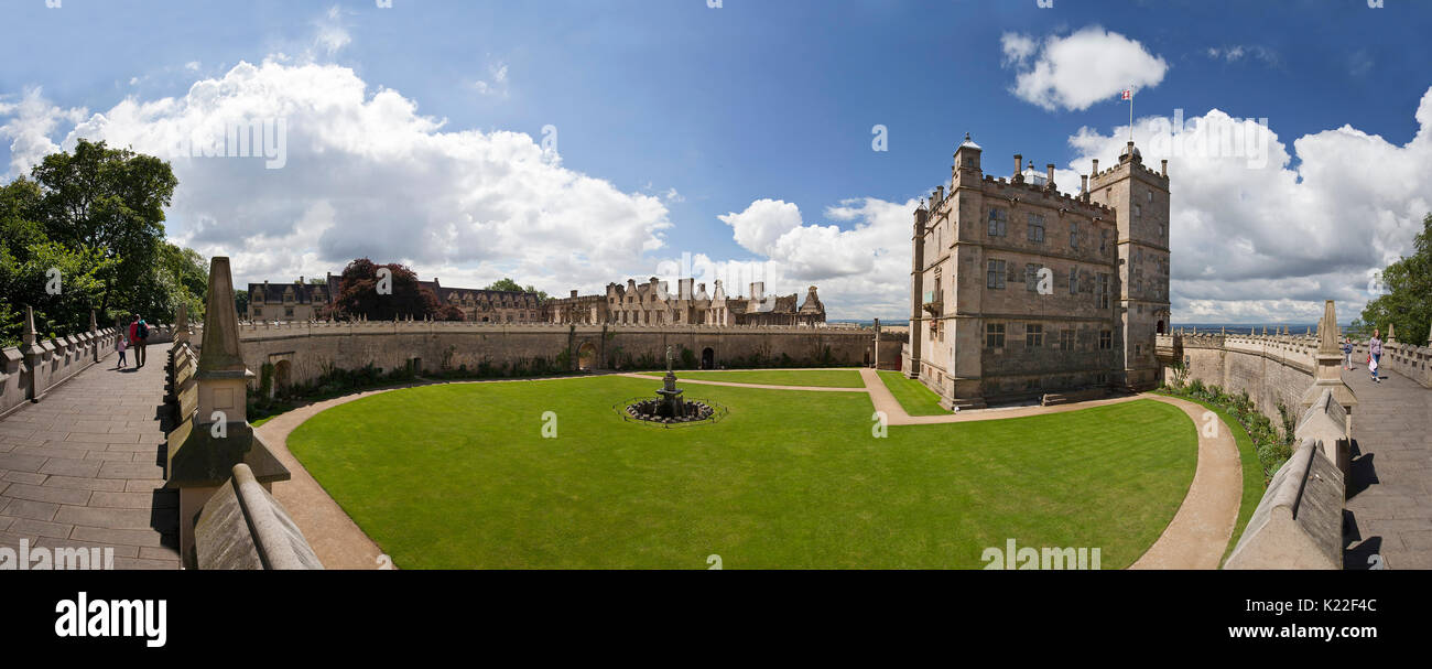 Panoramic view of Bolsover Castle, showing The Little Castle, Fountain Garden and Wall Walk. Stock Photo
