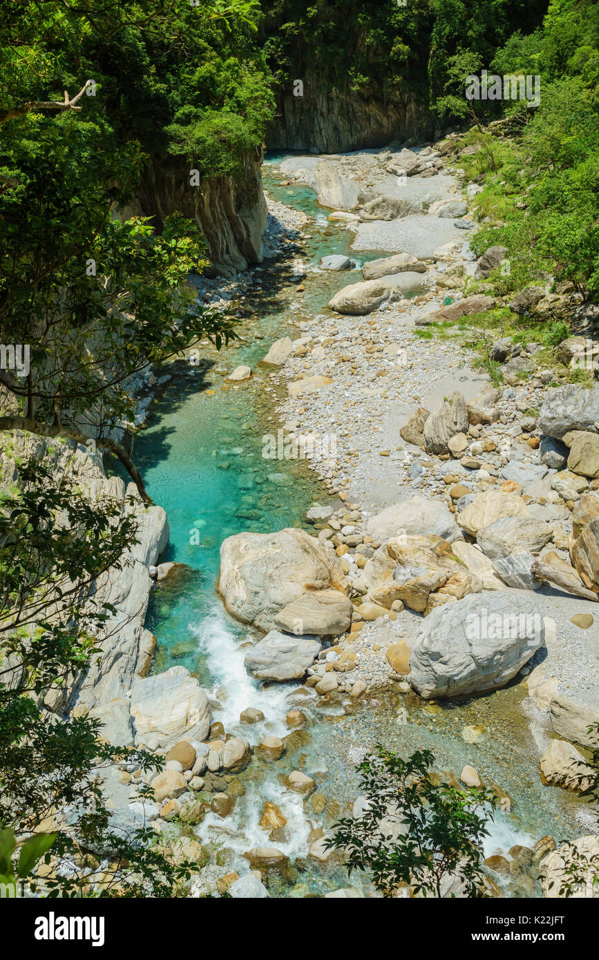 """The Sakadang Trail used to be called """"Mystery Valley"""" by the Japanese. It's located in Taroko National Park, Hualien, Taiwan - Stock Image"""