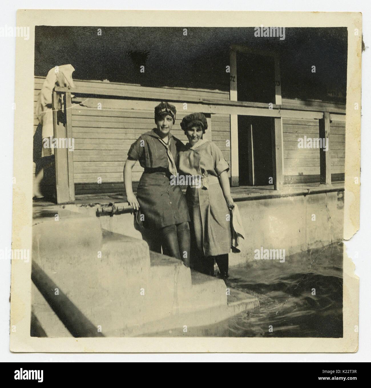 Two Women in Bathing Costumes, Houston Heights Natatorium - Stock Image