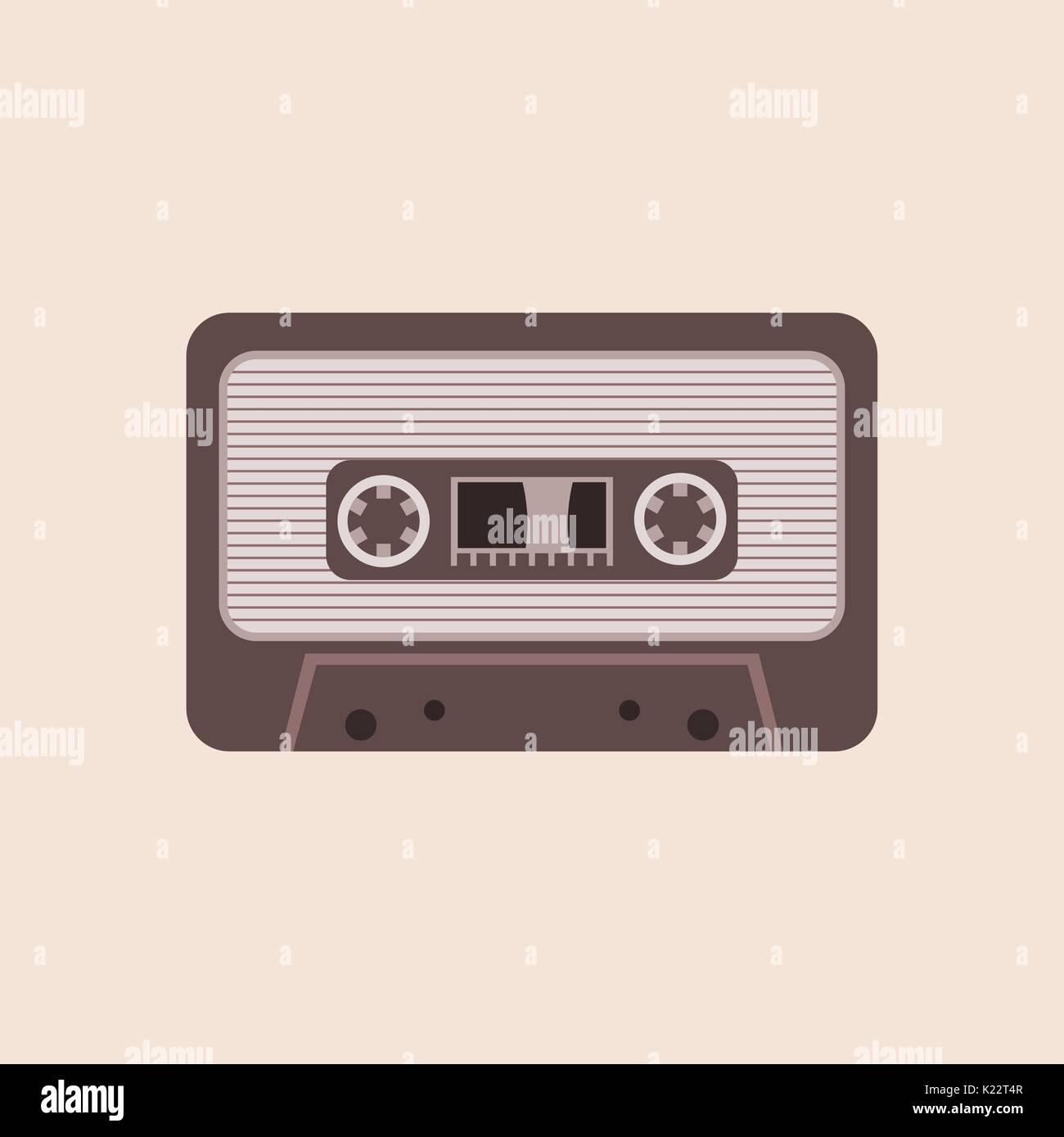 Cassette tape vector illustration on the beige background - Stock Vector