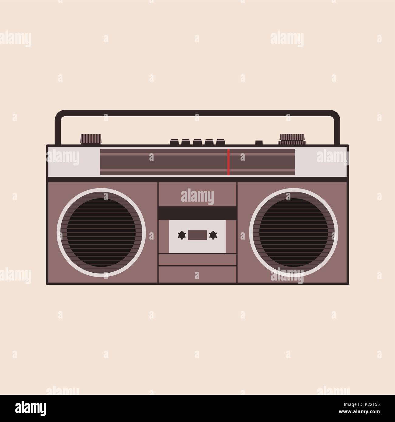 Cassette player vector illustration on the beige background - Stock Vector