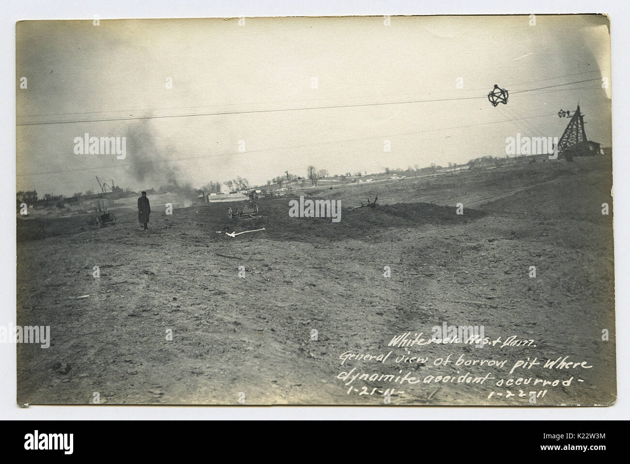 White rock Res. & Dam. General view of borrow pit where dynamite accident occurred - Stock Image