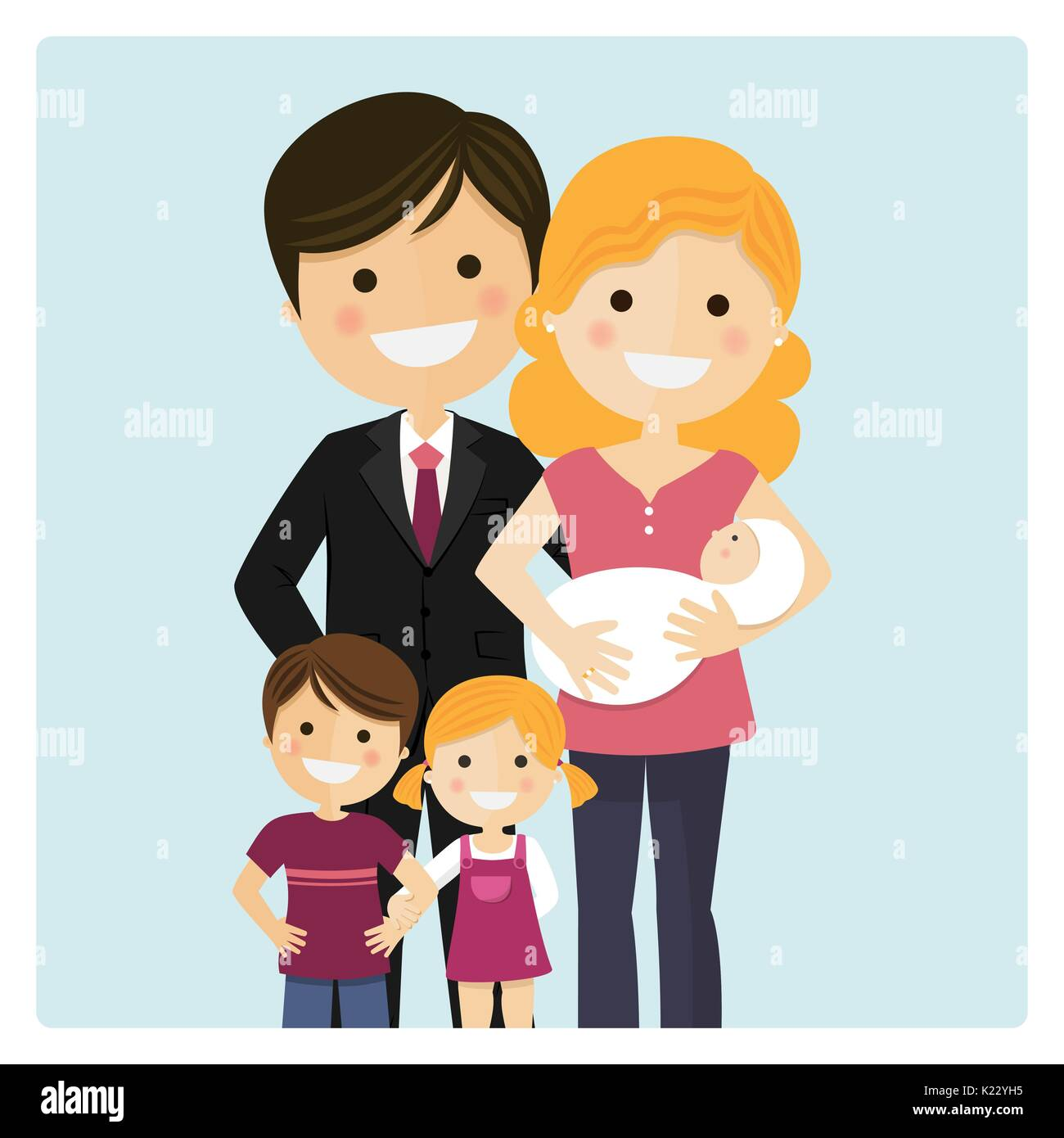 Family with two children and a newborn baby on blue background. Vector illustration - Stock Vector