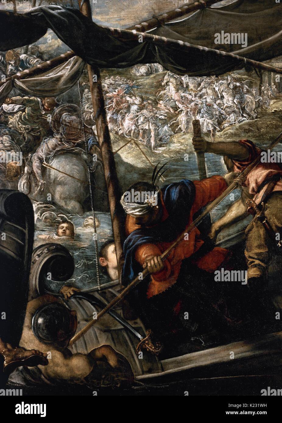 Tintoretto (Jacopo Robusti) (1518-1594). Italian painter. The Abduction of Helen, 1578-1579. Prado Museum. Madrid. Spain. - Stock Image