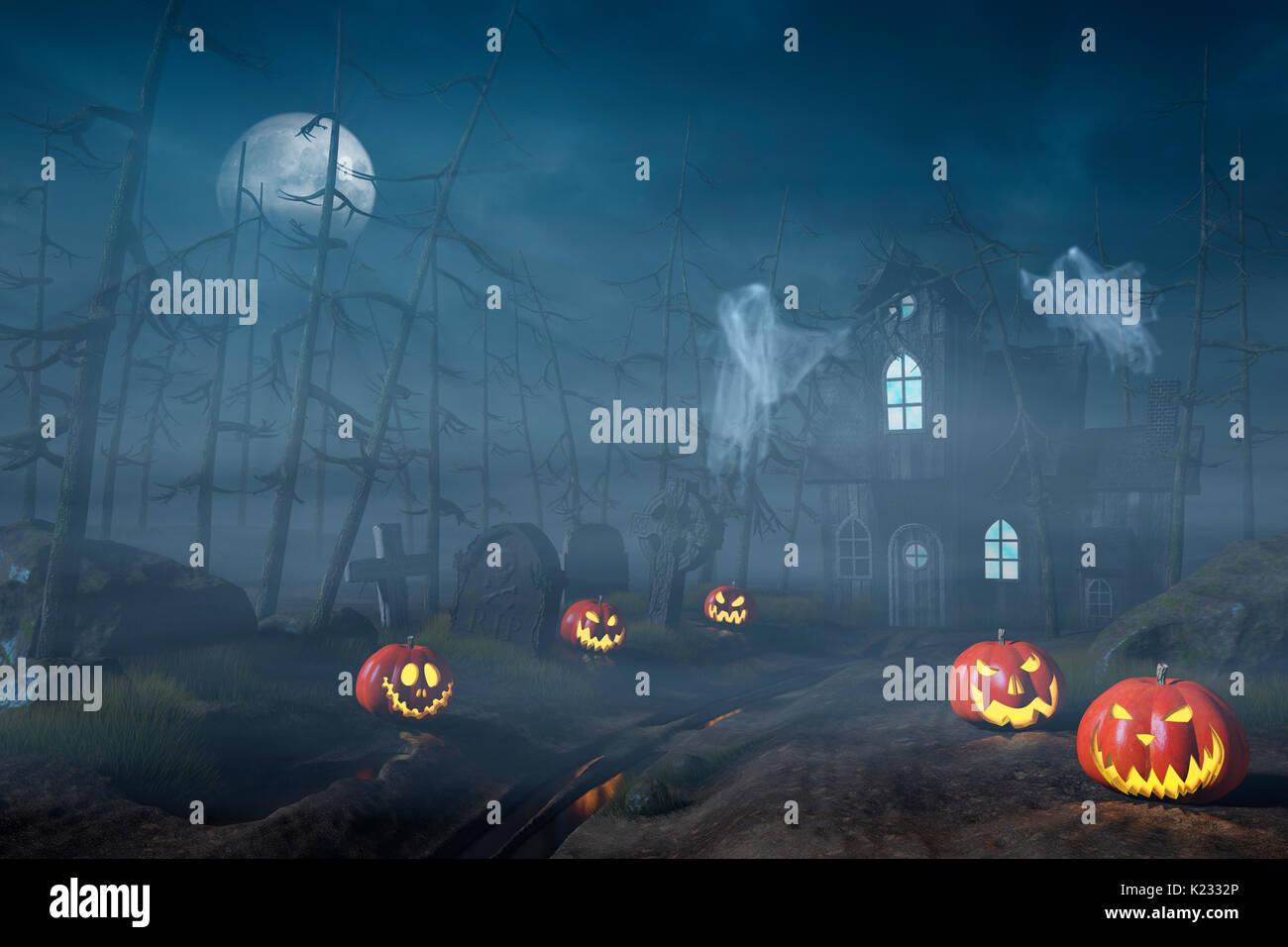 A cabin in a spooky and misty Halloween forest at night with Jack O'Lanterns and ghosts. - Stock Image