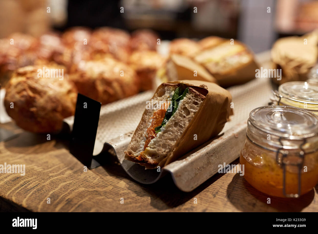 craft sandwich with price tag at grocery store - Stock Image