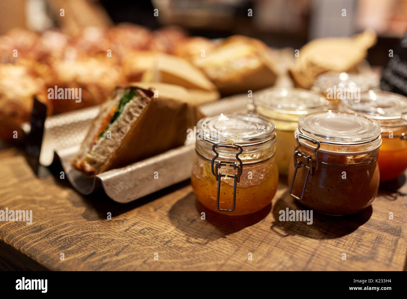 craft jam, food at store or grocery - Stock Image