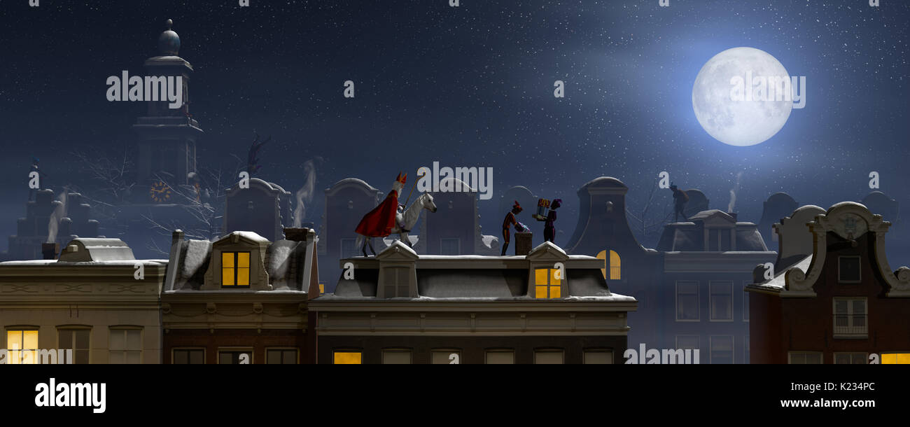 Sinterklaas and the Pieten on the rooftops at night, a scene for the traditional Dutch holiday 'Sinterklaas', 3d render. - Stock Image