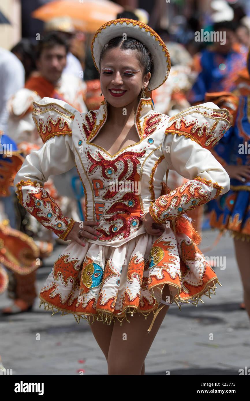 June 17, 2017 Pujili, Ecuador: indigenous kichwa woman in colorful dress at the Corpus Christi annual parade - Stock Image