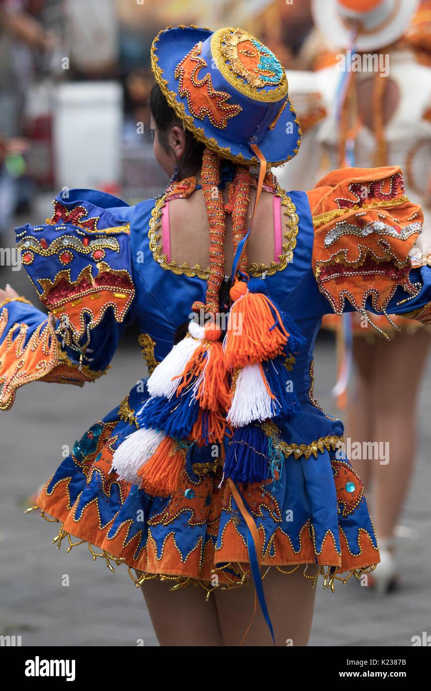 June 17, 2017 Pujili, Ecuador: indigenous kichwa woman colorful dress details at the Corpus Christi annual parade - Stock Image