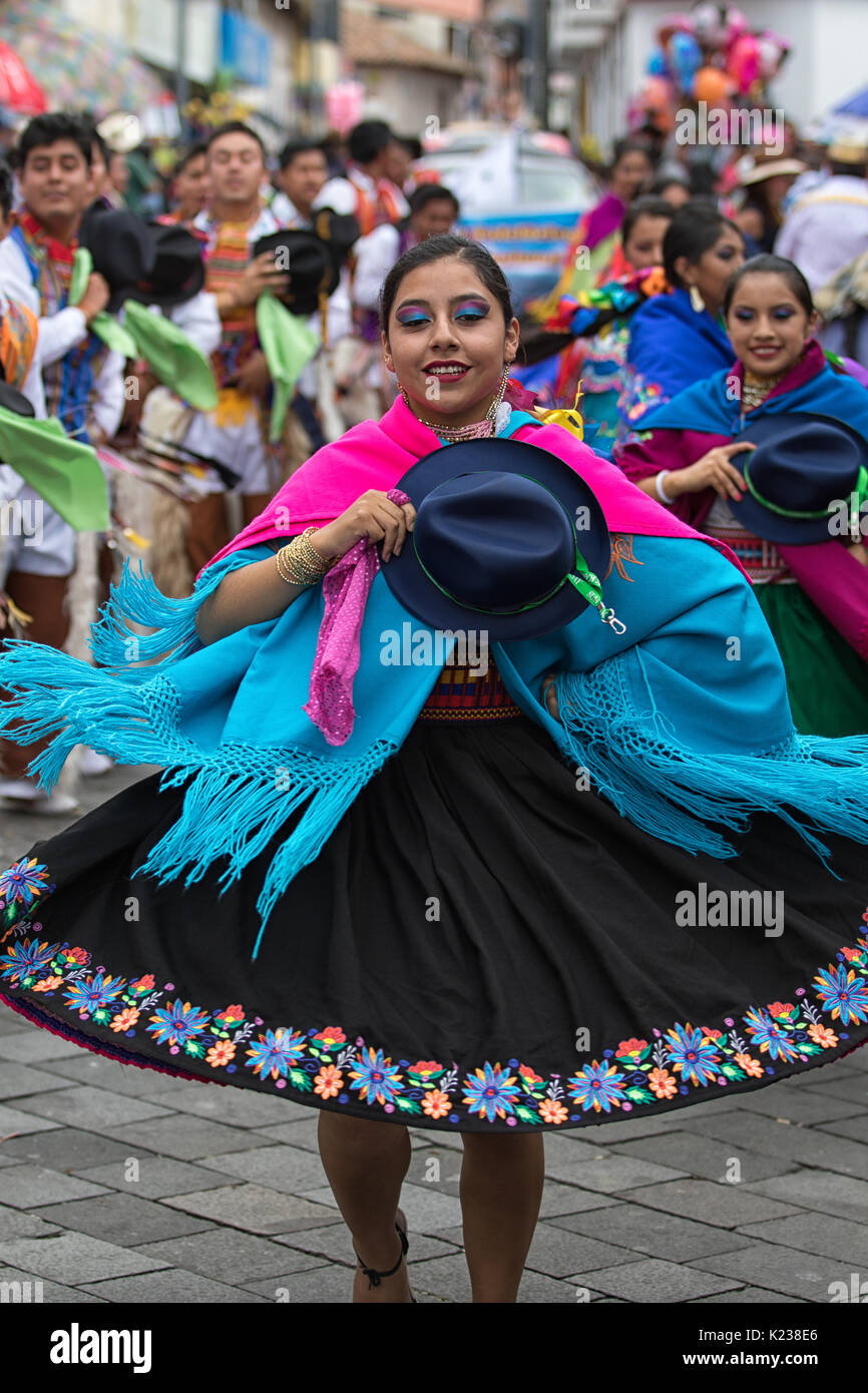 June 17, 2017 Pujili, Ecuador: woman dancer in colorful dress at the Corpus Christi annual parade - Stock Image