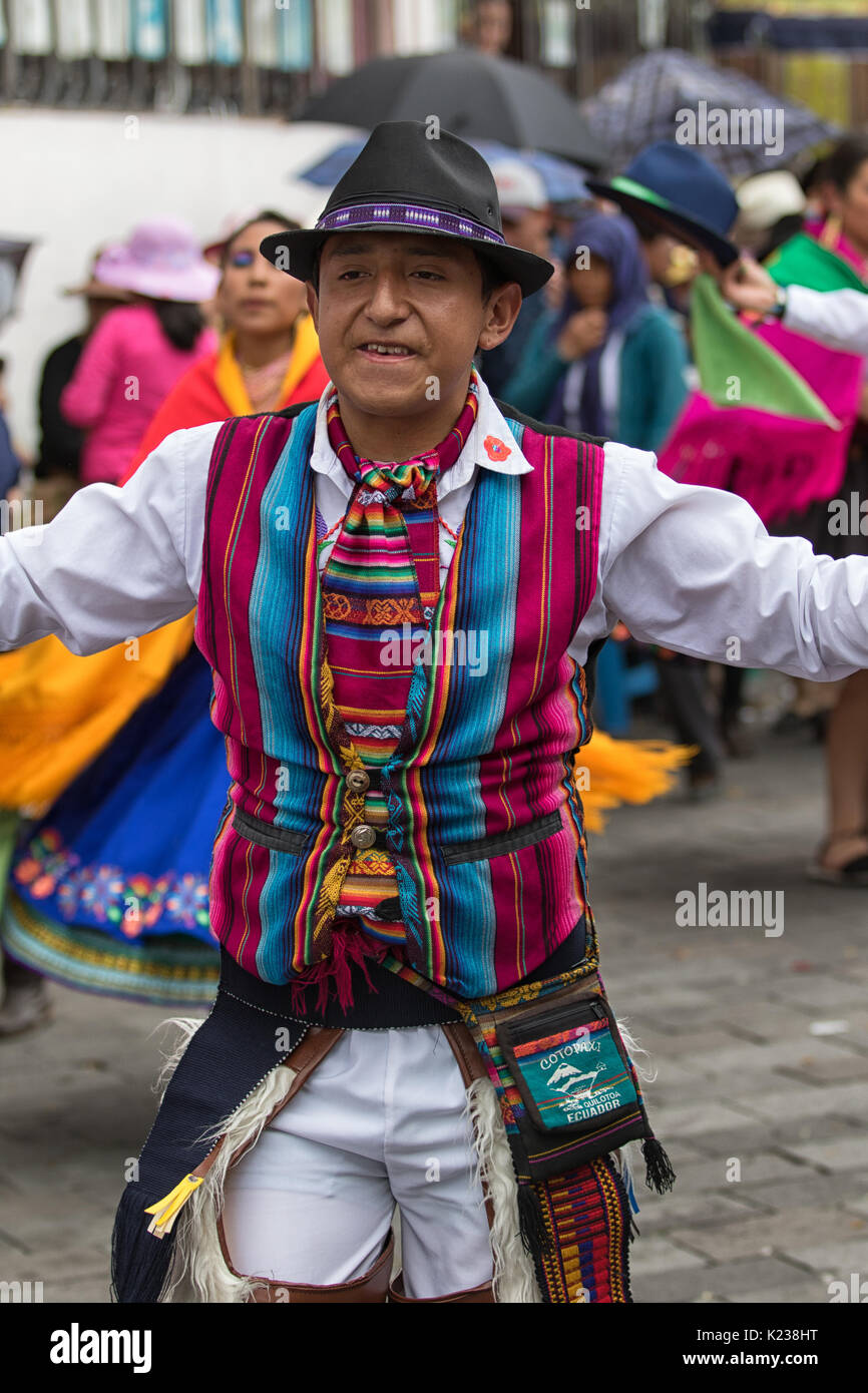 June 17, 2017 Pujili, Ecuador: indigenous quechua man in traditional wear performing a dance during Corpus Christi parade in the high altitude Andean  - Stock Image