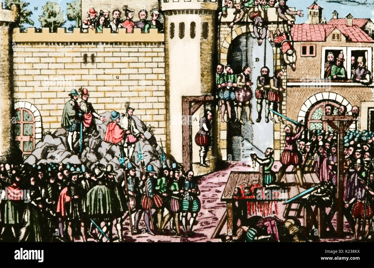 Execution of members of Amboise conspiracy. Abortive Huguenot conspiracy against Catholic House of Guise, 25 March 1560. Engraving by Hogenberg, late 16th - early 17th century. Colored. - Stock Image