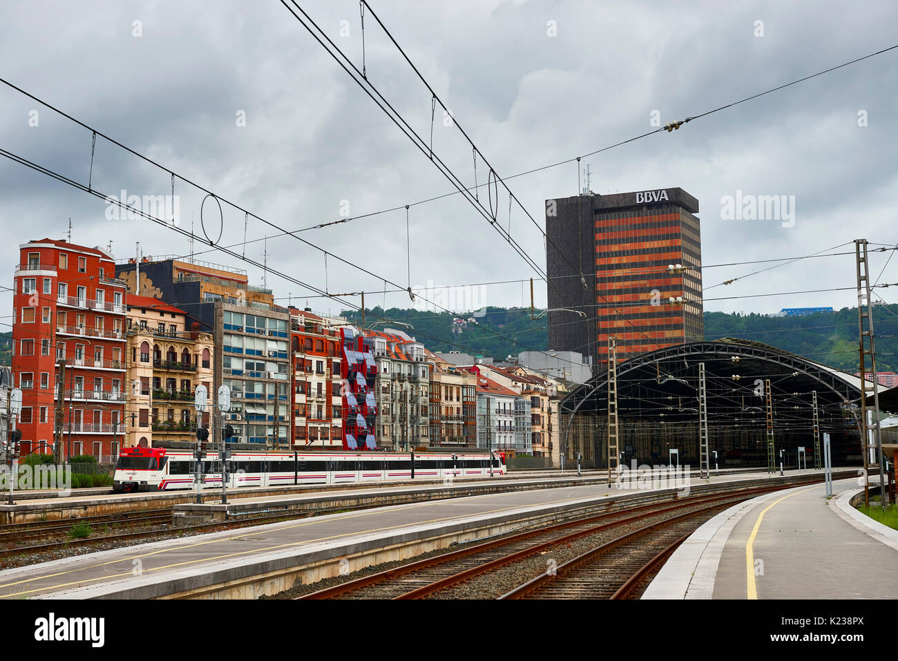 Train Arriving in Bilbao, Biscay, -Basque Country, Euskadi, Spain, Europe - Stock Image