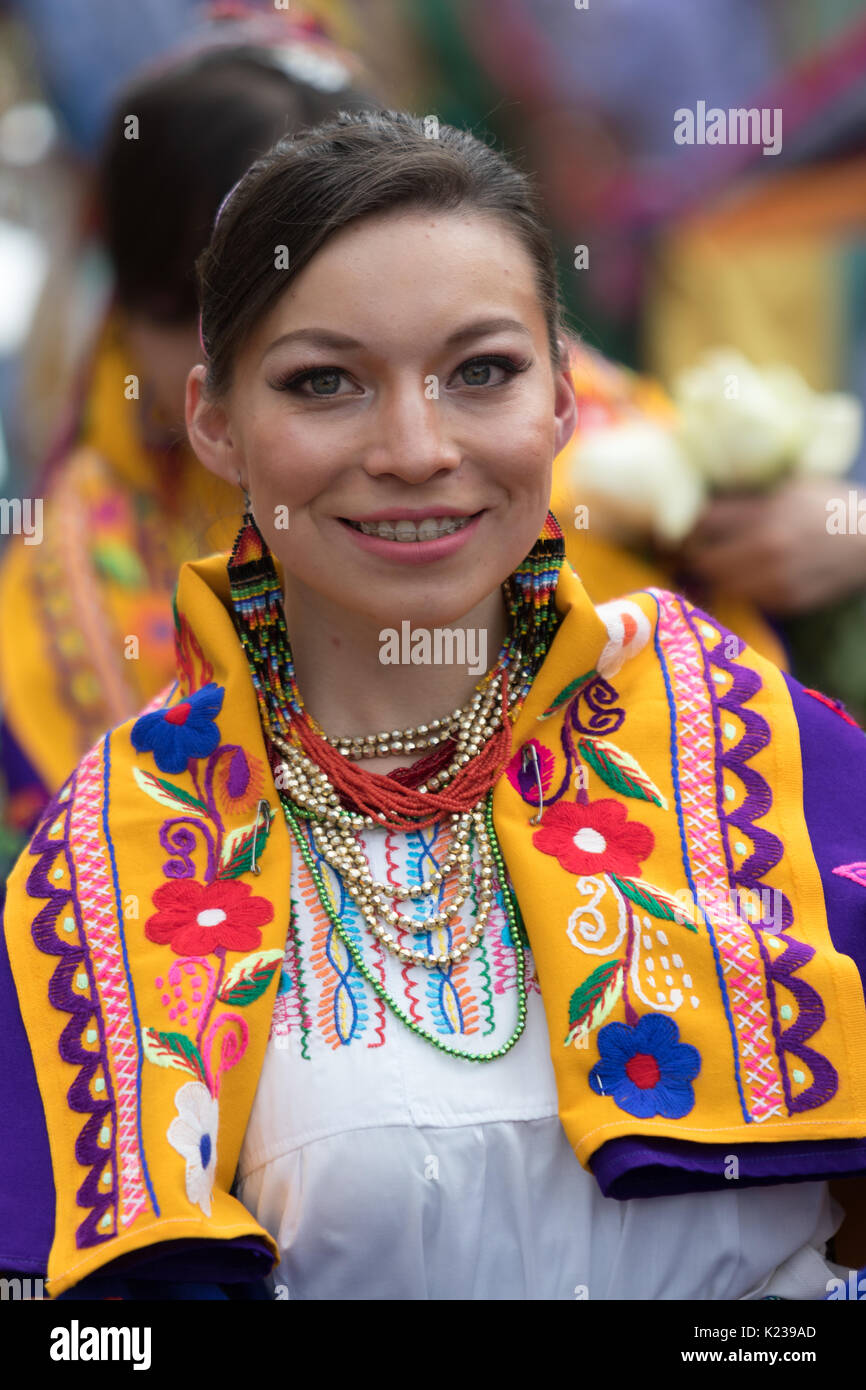 June 17, 2017 Pujili, Ecuador: portrait of a quechua young wman in traditional clothing  during Corpus Christi parade is impressive - Stock Image