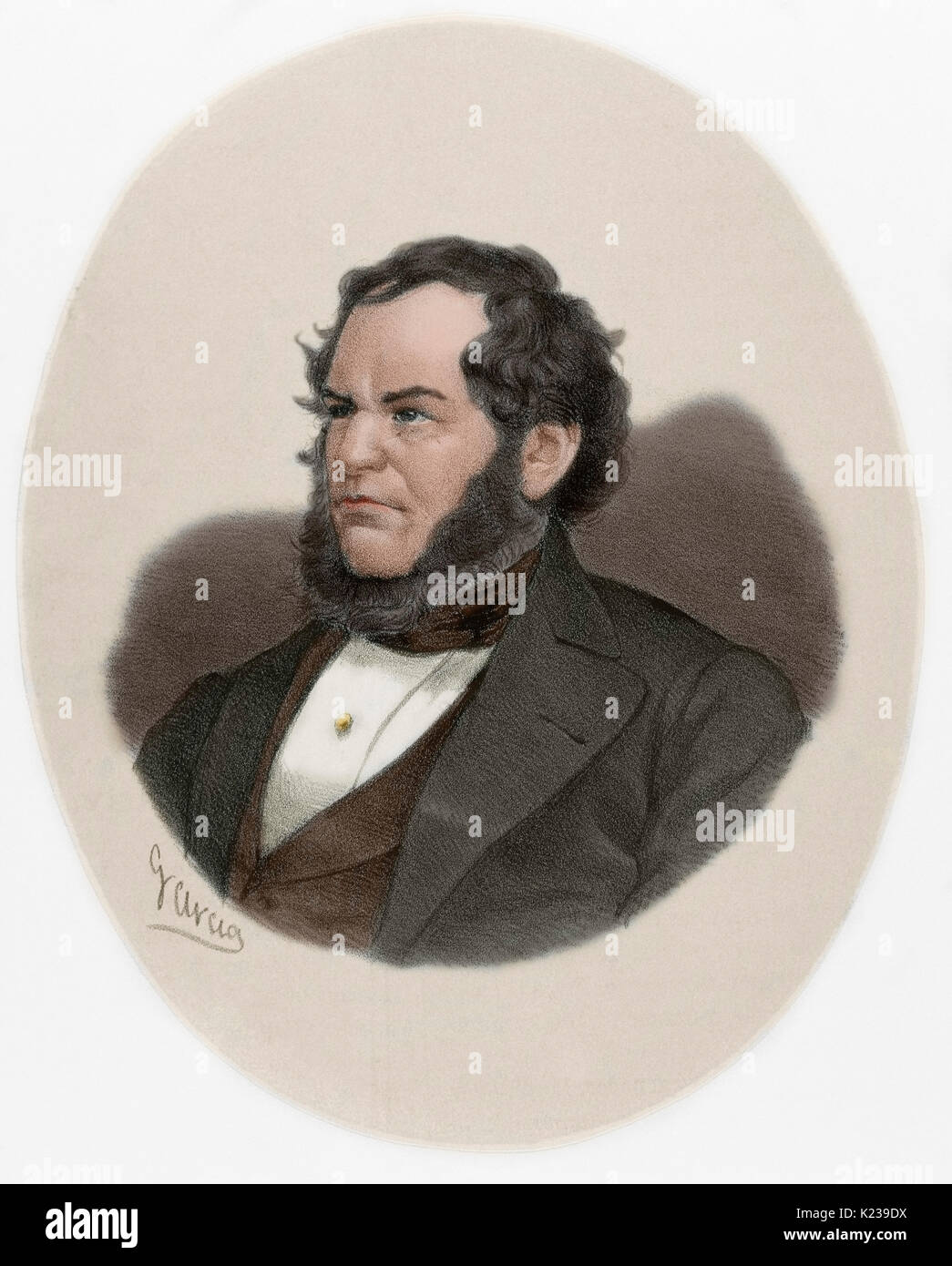 Edward George Geoffrey Smith-Stanley, 14th Earl of Derby, (1799-1869). British statesman and Prime Minister of the United Kingdom. Leader of the Conservative Party. Portrait. Engraving by Garcia. Colored. - Stock Image