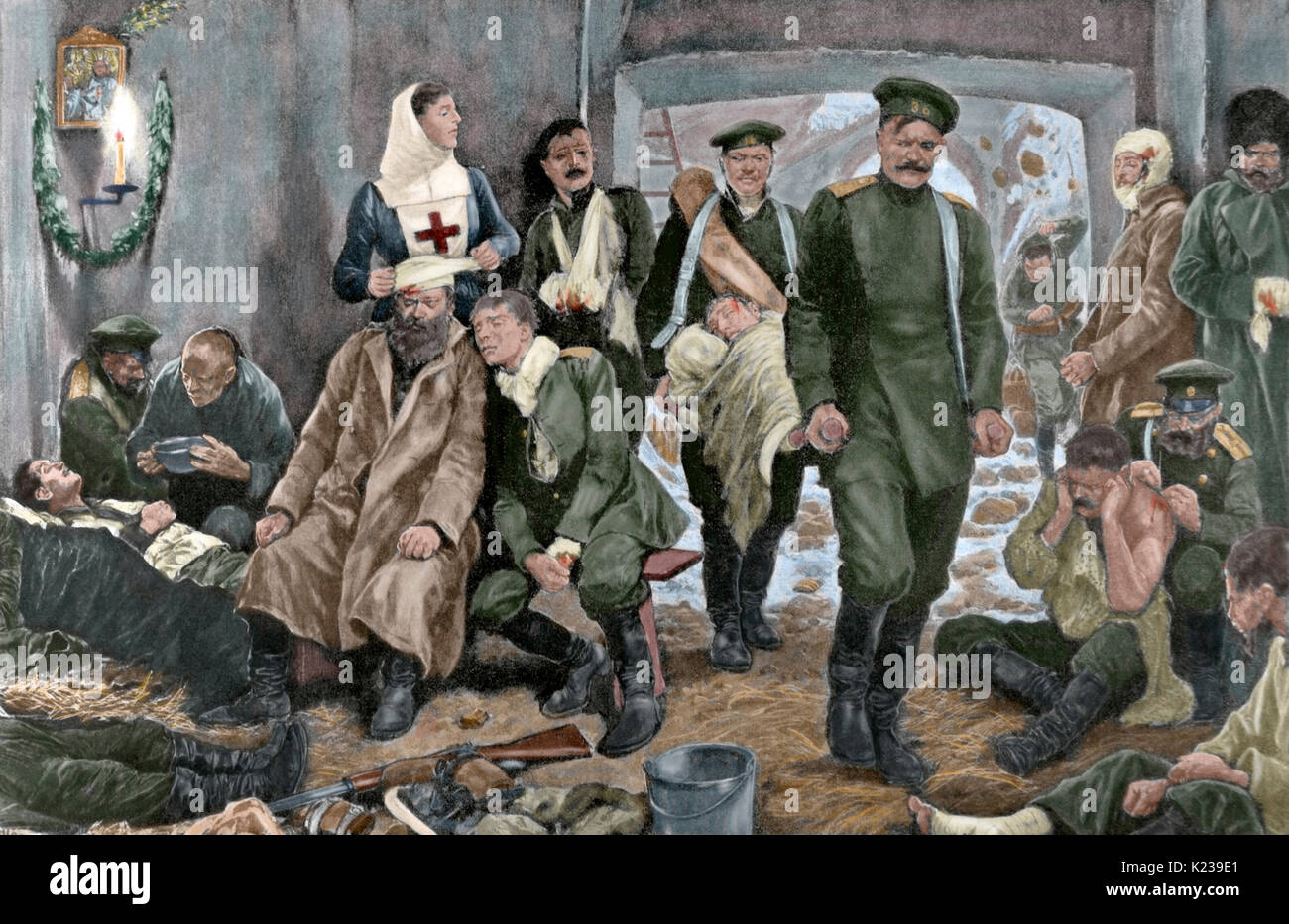Russo-Japanese War (1904-1905). Campaign hospital of the Russian troops in Manchuria. Arrival of a wounded. Engraving by R. Caton Woodville. 'La Ilustración Artistica', 20th century. Colored. - Stock Image