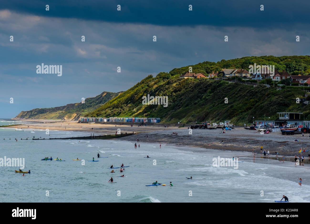 The North Norfolk Coastline seen from Cromer Pier, Cromer, Norfolk, UK - Stock Image